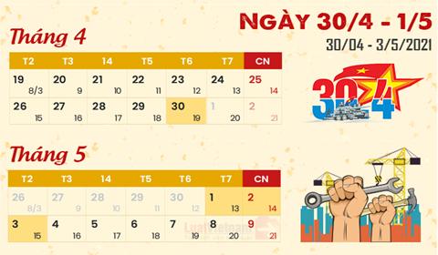 Thông báo lịch nghỉ Lễ 30/4 và 1/5/2021