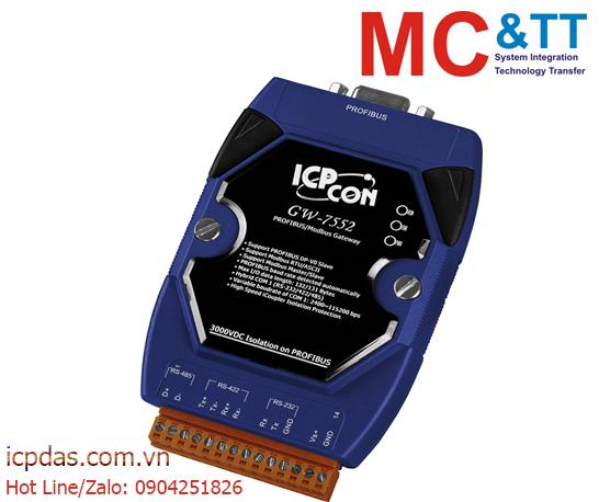 GW-7552: Bộ chuyển đổi Profibus sang Modbus RTU/ ASCII kết nối RS-232/ 422/ 485 ICP DAS