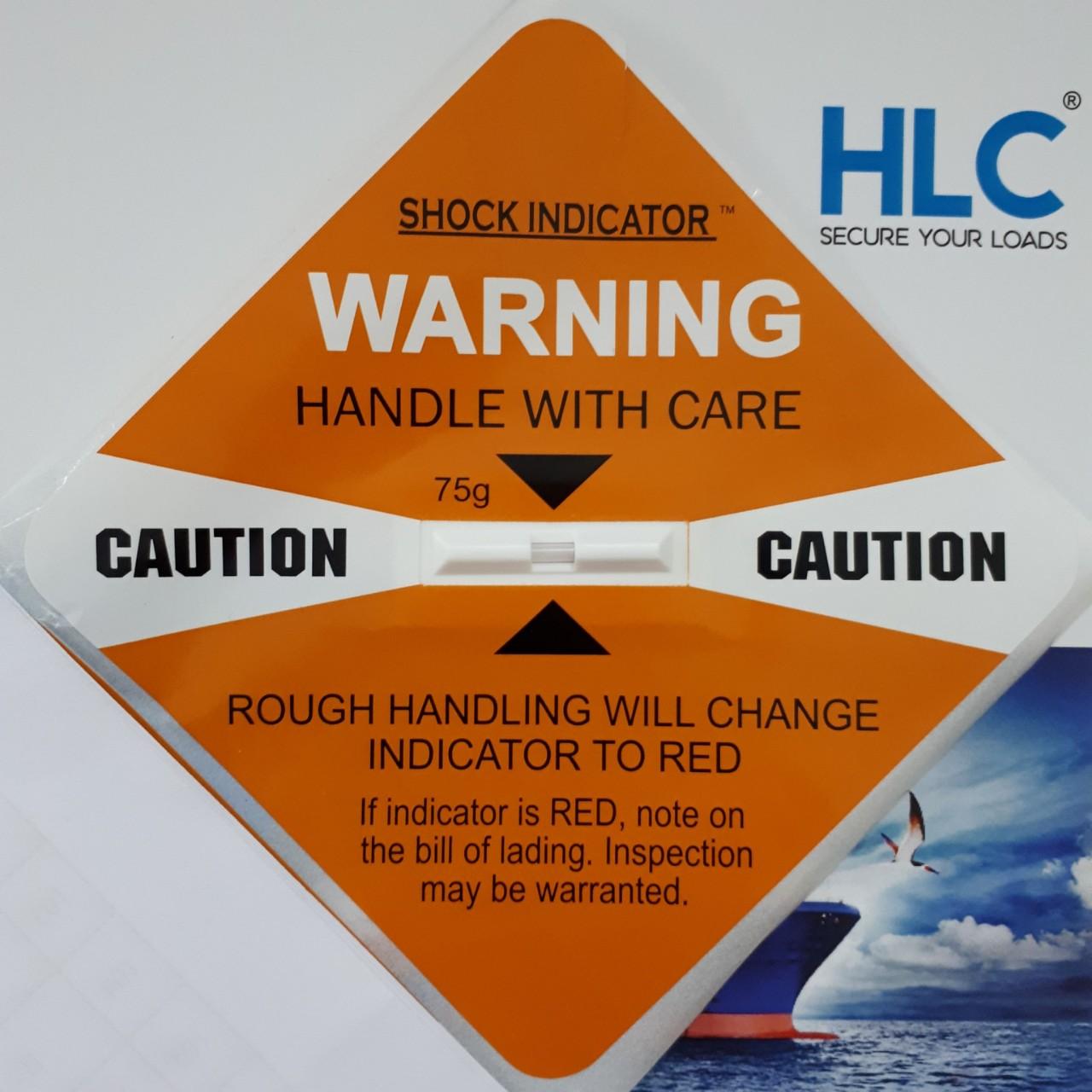 Nhãn cảnh báo hàng hóa bị va đập màu cam, đỏ, tím, vàng, xanh