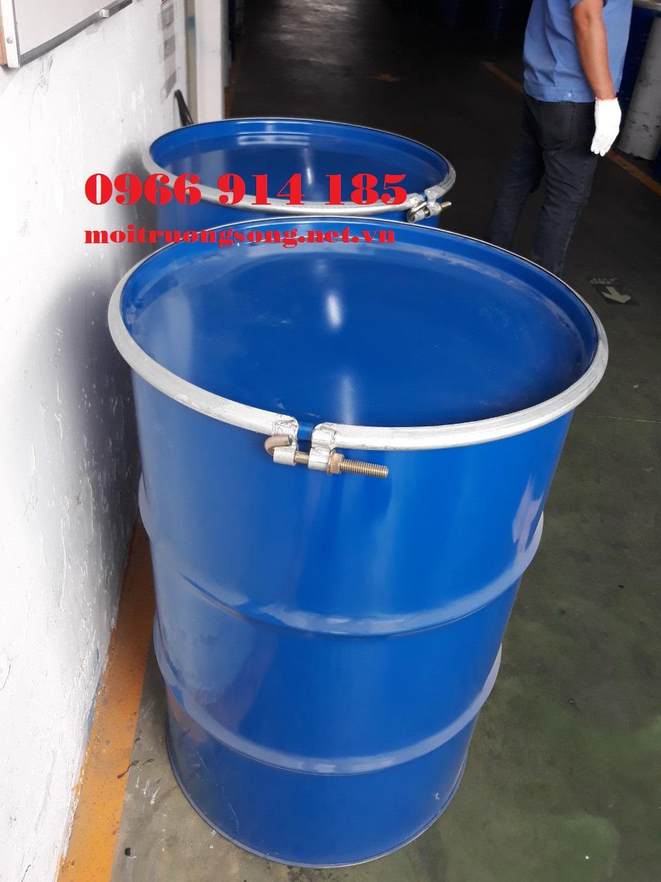 Thùng phuy sắt 220 lít nắp rời tráng men thực phẩm epoxy MKC