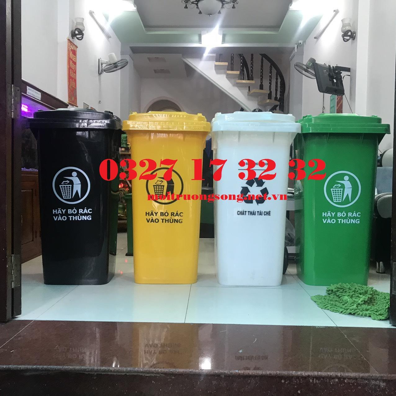 Thùng rác công cộng 120L nhựa HDPE (có bánh xe) MKC