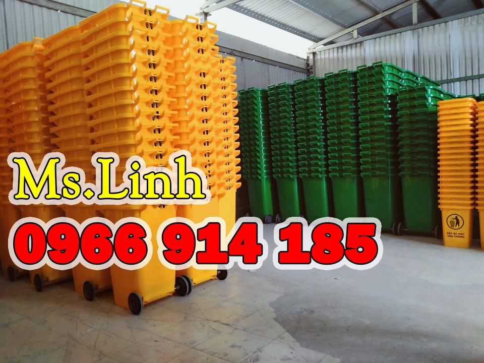 Đại lý gốc thùng rác công cộng nhựa HDPE 240L xanh lá có bánh xe