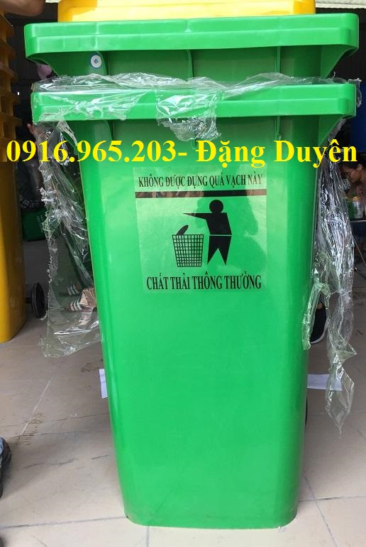 Thùng rác 240 lít y tế màu xanh