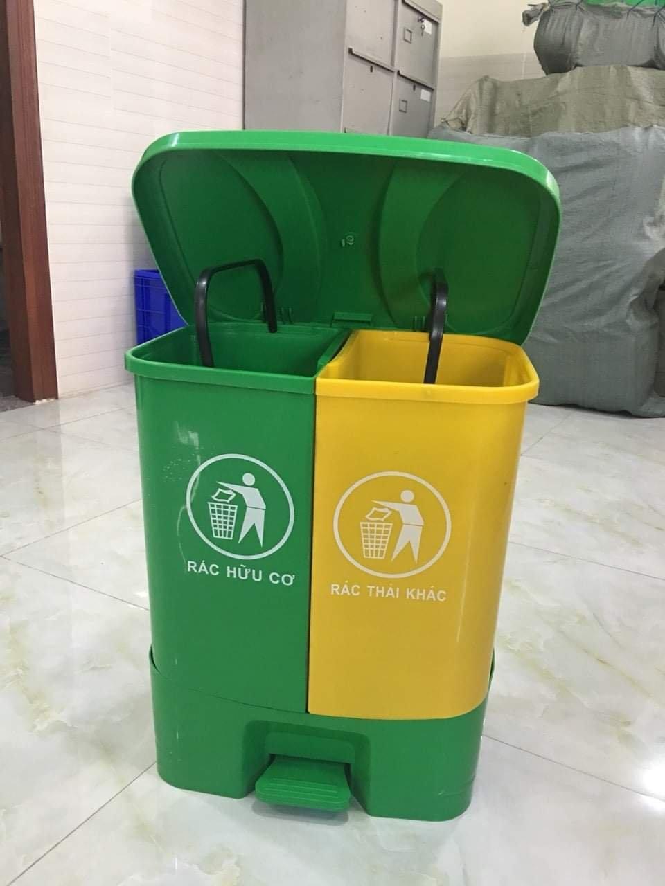 Thùng rác nhựa 2 ngăn 40l