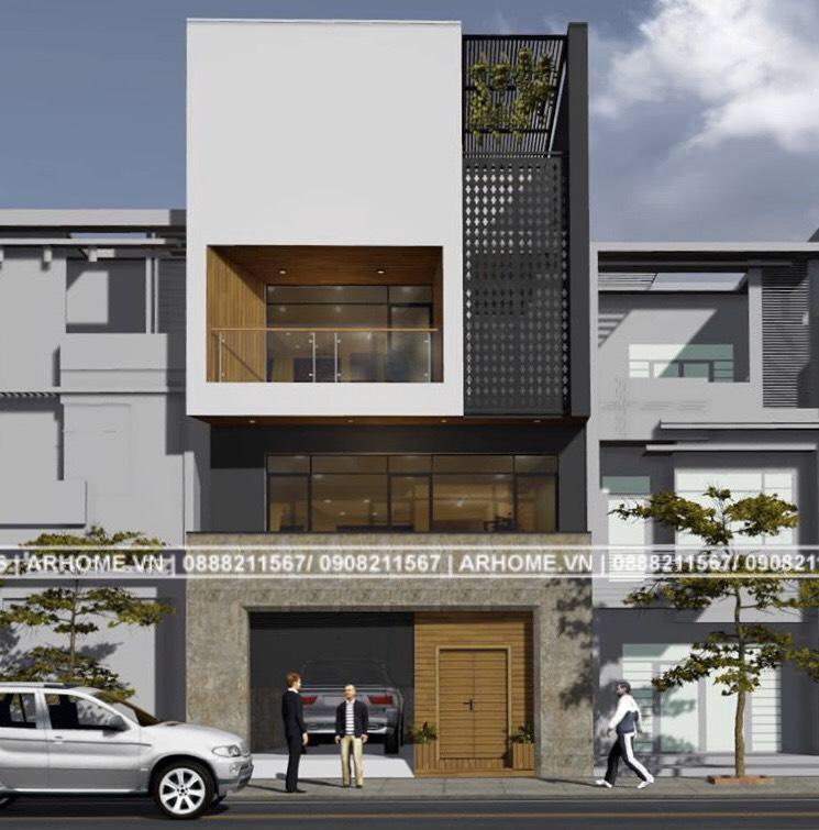 Mẫu thiết kế nhà phố 3 tầng có gara