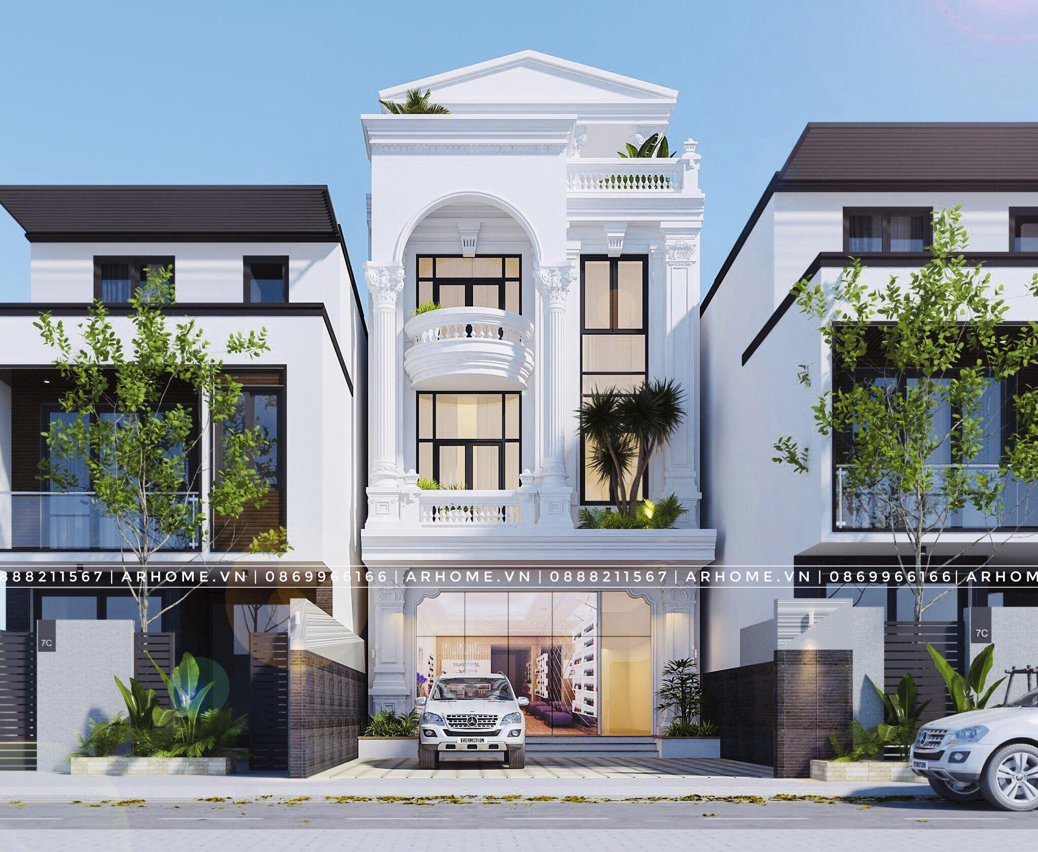 Mẫu nhà phố 3 tầng tân cổ điển kèm nội thất được yêu thích