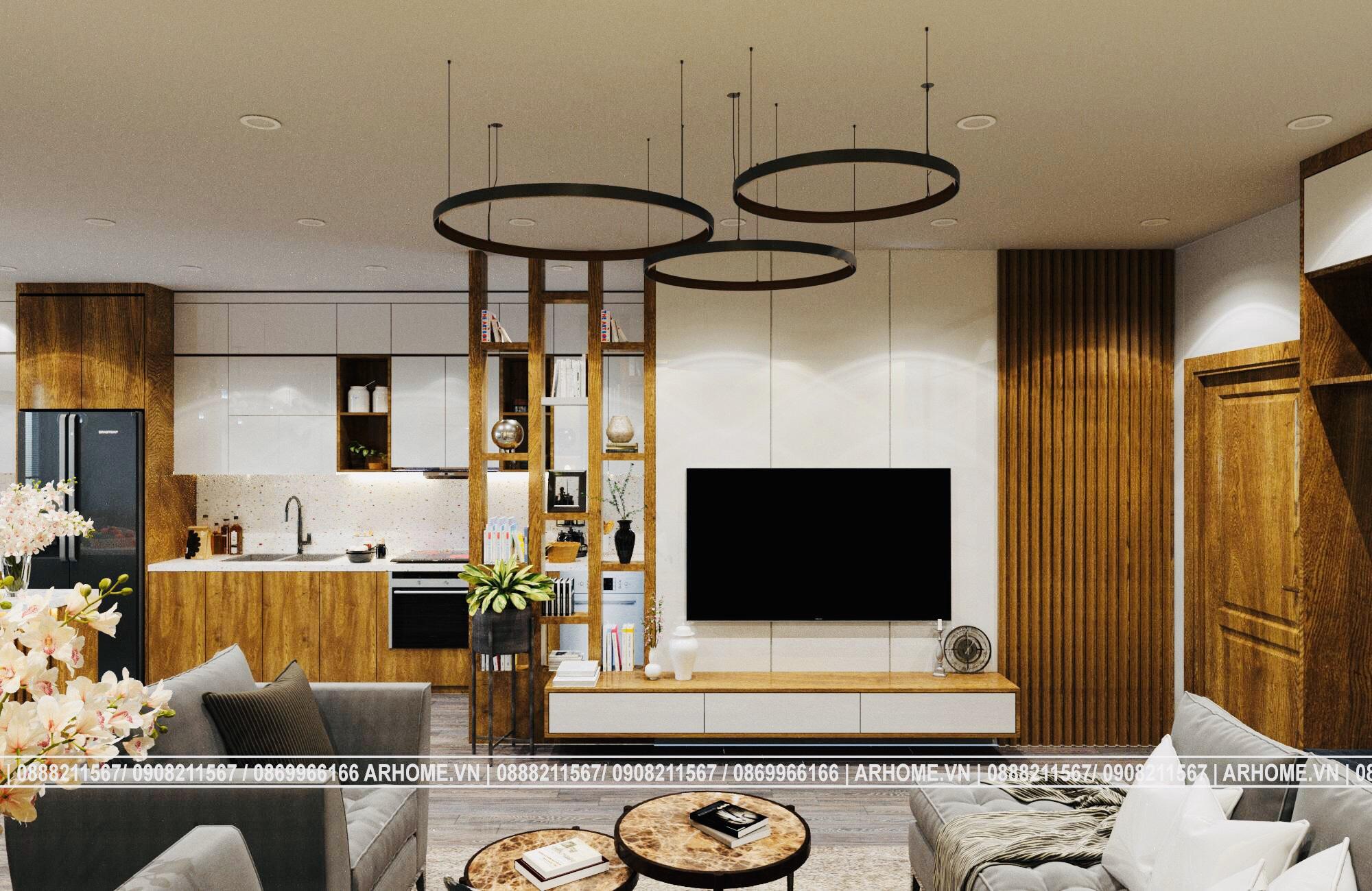 Thiết kế nội thất căn hộ EuroWindow 1 phòng ngủ với màu nâu vàng quyến rũ