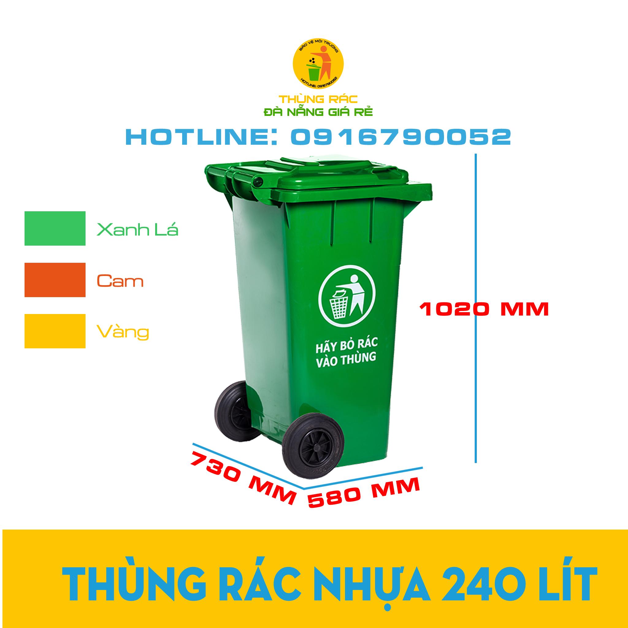 Thùng rác nhựa công cộng 240 lít màu xanh