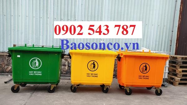 Xe thu gom rác 660 lít nhựa HDPE