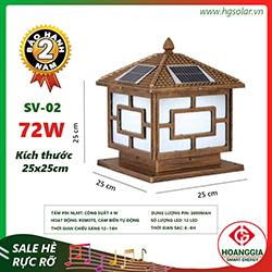 Đèn trụ cổng năng lượng mặt trời SV-02 loại 25cm