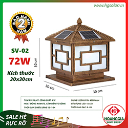 Đèn trụ cổng năng lượng mặt trời SV-02 loại 30cm