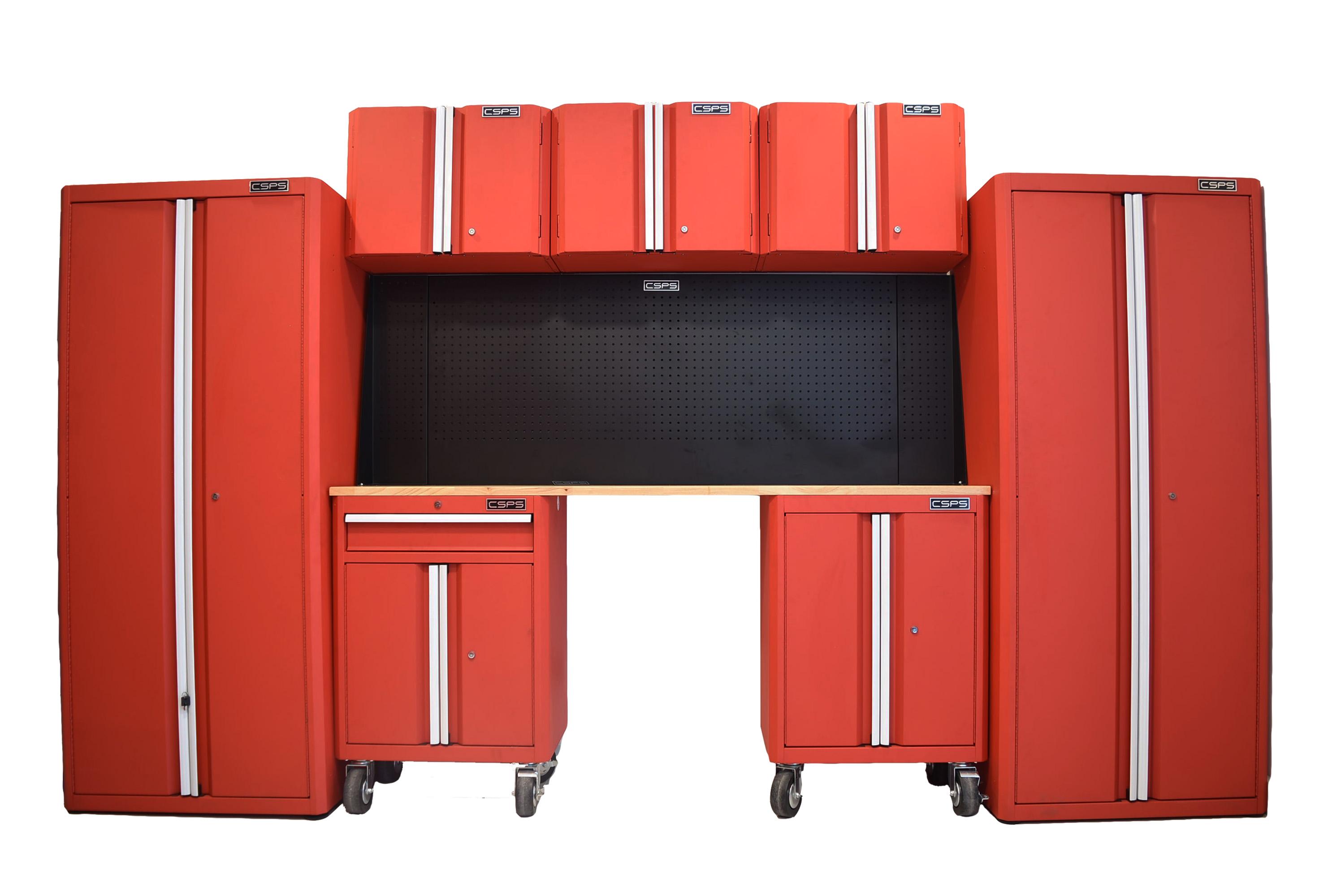 Bộ 8 tủ CSPS 355cm - Đỏ/Đen