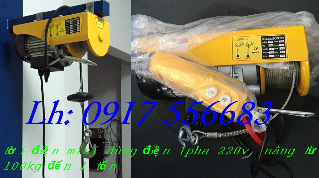 Tời điện mini PA400 tải trọng nâng 200/ 400kg chiều cao nâng 12m, 30m, dùng điện 1 pha 220v