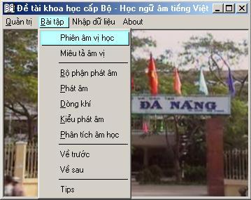 Phần mềm tin học hỗ trợ giảng dạy môn Ngữ âm tiếng Việt
