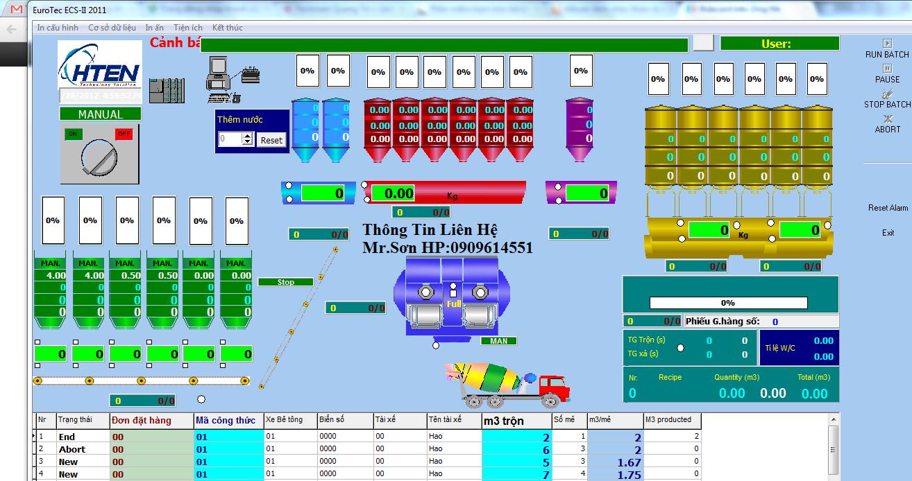 Phần mềm trạm trộn bê tông