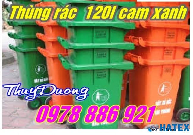 Thùng rác nhựa công nghiệp 120 lít màu xanh
